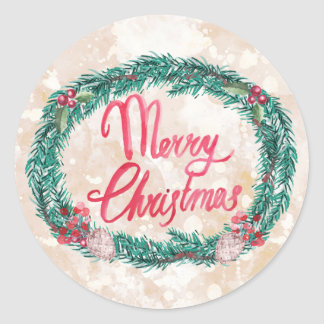 Watercolor Pine Wreath Merry Christmas Classic Round Sticker