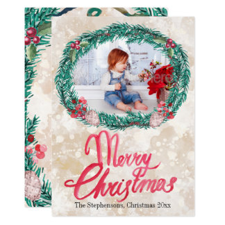 Watercolor Pine Wreath Merry Christmas Photo Card