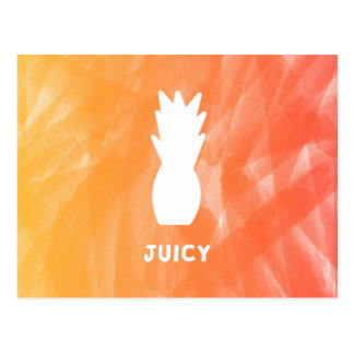 Watercolor pineapple - orange/red postcard