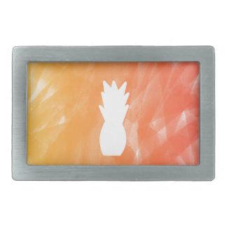 Watercolor pineapple - orange/red rectangular belt buckle