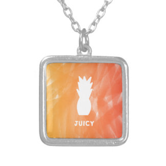 Watercolor pineapple - orange/red silver plated necklace