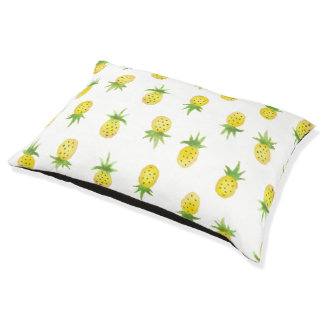 Watercolor Pineapple Pattern Dog Bed Large Dog Bed