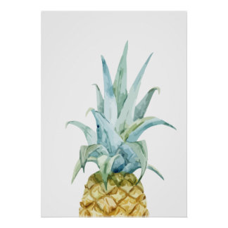 Watercolor Pineapple Poster