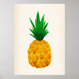Watercolor pineapple poster