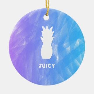 Watercolor pineapple - purple/blue ceramic ornament