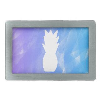 Watercolor pineapple - purple/blue rectangular belt buckle