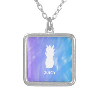 Watercolor pineapple - purple/blue silver plated necklace