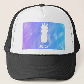 Watercolor pineapple - purple/blue trucker hat