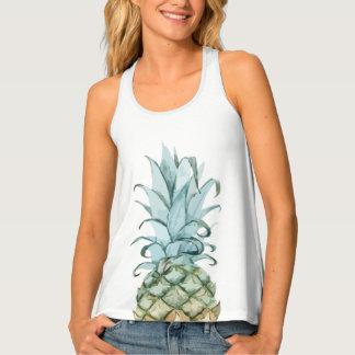 Watercolor Pineapple Racer Back Tank Top