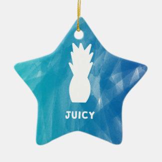 Watercolor Pineapple - teal Ceramic Ornament
