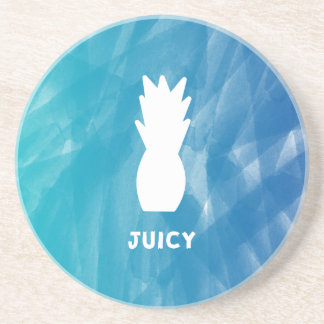 Watercolor Pineapple - teal Coaster