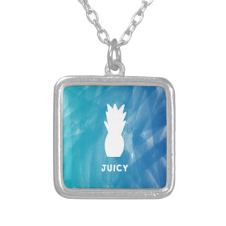 Watercolor Pineapple - teal Silver Plated Necklace