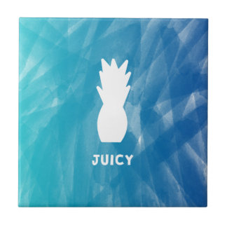 Watercolor Pineapple - teal Tile