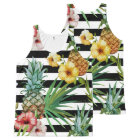 Watercolor pineapple tropical flower black stripes All-Over-Print tank top