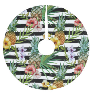 Watercolor pineapple tropical flower black stripes brushed polyester tree skirt