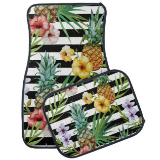 Watercolor pineapple tropical flower black stripes car mat