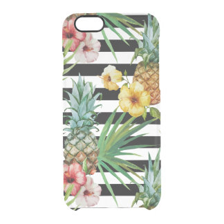 Watercolor pineapple tropical flower black stripes clear iPhone 6/6S case