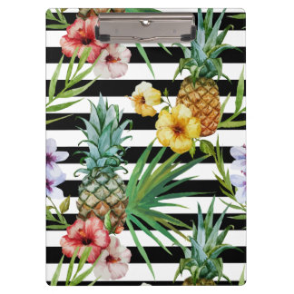 Watercolor pineapple tropical flower black stripes clipboard