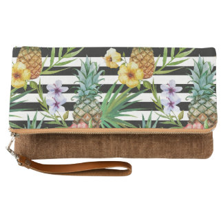 Watercolor pineapple tropical flower black stripes clutch