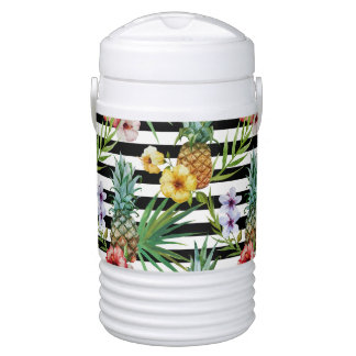 Watercolor pineapple tropical flower black stripes cooler