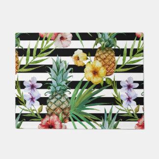 Watercolor pineapple tropical flower black stripes doormat