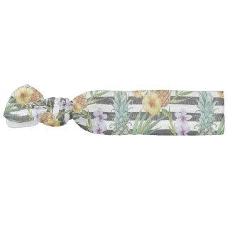 Watercolor pineapple tropical flower black stripes elastic hair tie