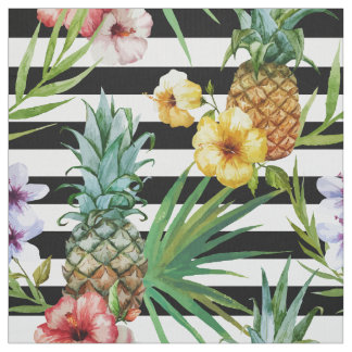 Watercolor pineapple tropical flower black stripes fabric