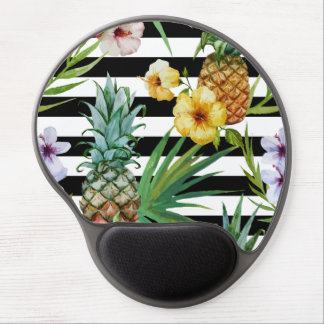 Watercolor pineapple tropical flower black stripes gel mouse pad