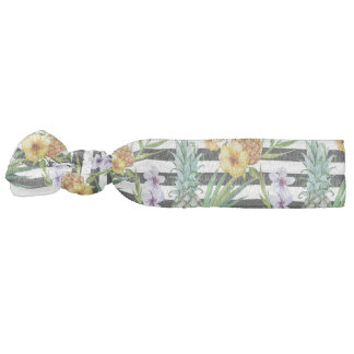 Watercolor pineapple tropical flower black stripes hair tie