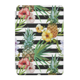Watercolor pineapple tropical flower black stripes iPad mini cover