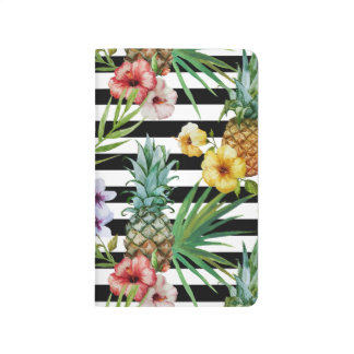 Watercolor pineapple tropical flower black stripes journal
