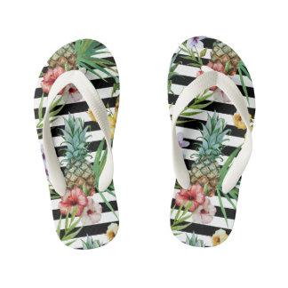 Watercolor pineapple tropical flower black stripes kid's flip flops