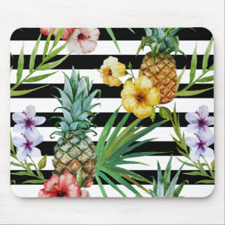 Watercolor pineapple tropical flower black stripes mouse pad
