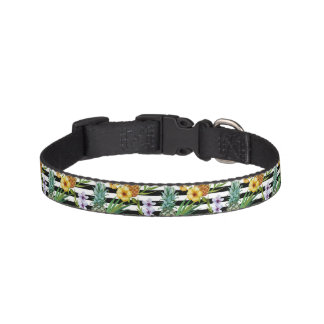 Watercolor pineapple tropical flower black stripes pet collar