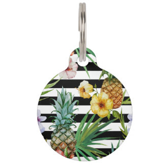 Watercolor pineapple tropical flower black stripes pet name tags