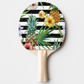 Watercolor pineapple tropical flower black stripes ping pong paddle