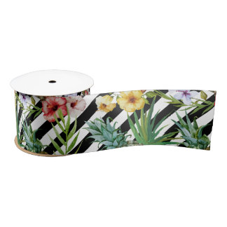 Watercolor pineapple tropical flower black stripes satin ribbon