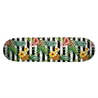 Watercolor pineapple tropical flower black stripes skate board decks