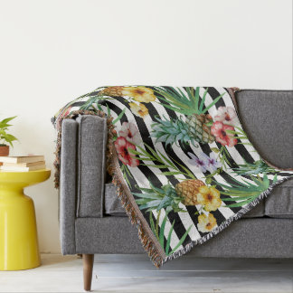 Watercolor pineapple tropical flower black stripes throw blanket