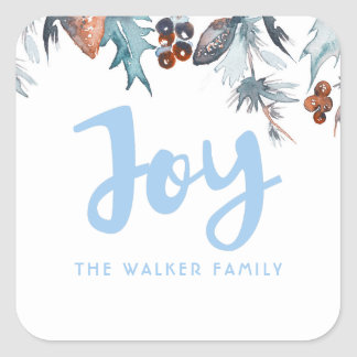 Watercolor Pines and Berries Holiday Square Sticker