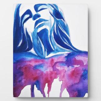 Watercolor Pink and Bue Female Portrait Art Paint Plaque