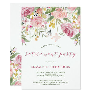 Retirement party invitations announcements zazzle ca watercolor pink and gold floral retirement party invitation stopboris Images
