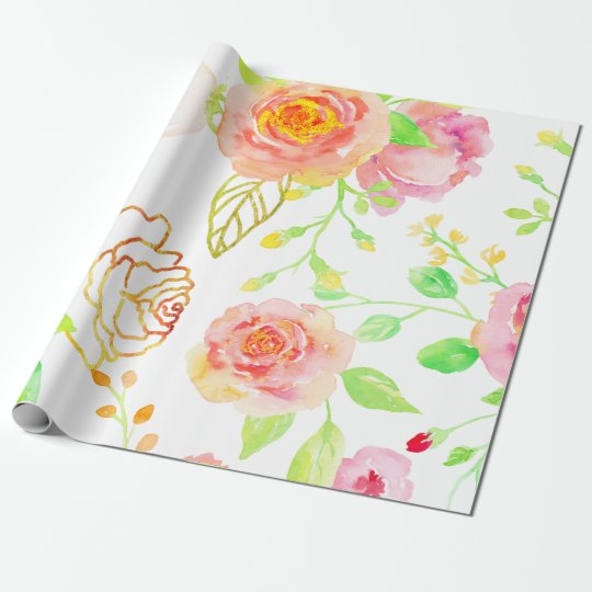 Watercolor Pink and Gold Rose Pattern