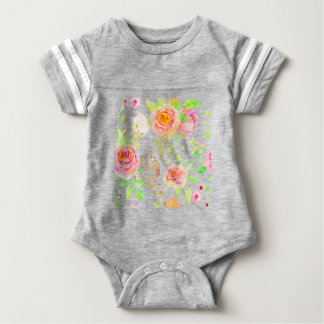 Watercolor Pink and Gold Rose Pattern Baby Bodysuit