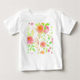 Watercolor Pink and Gold Rose Pattern Baby T-Shirt