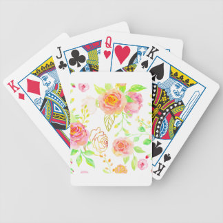 Watercolor Pink and Gold Rose Pattern Bicycle Playing Cards