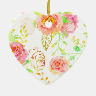 Watercolor Pink and Gold Rose Pattern Ceramic Ornament