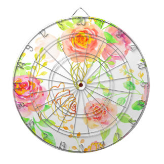 Watercolor Pink and Gold Rose Pattern Dart Board
