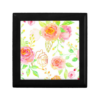 Watercolor Pink and Gold Rose Pattern Gift Box