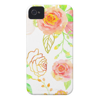 Watercolor Pink and Gold Rose Pattern iPhone 4 Case